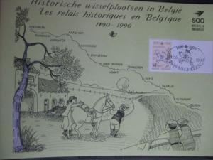 Belgien, Amtl. Gedenkblatt 500 Jahre POST; Sonderstempel Mechelen