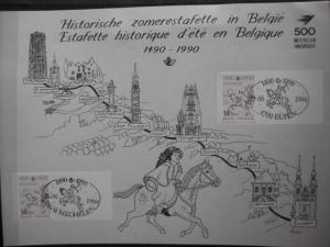 Belgien, Amtl. Gedenkblatt 500 Jahre POST; Sonderstempel Mechelen und Eupen