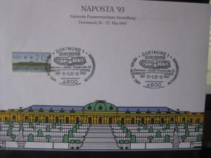 Stempelkarte, Erinnerungskarte, Ausstellungskarte NAPOSTA 1993 Dortmund, mit ATM und ATM-Sonderstempel