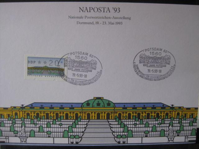 Stempelkarte, Gedenkkarte, Erinnerungskarte, Ausstellungskarte, NAPOSTA Dortmund 1993