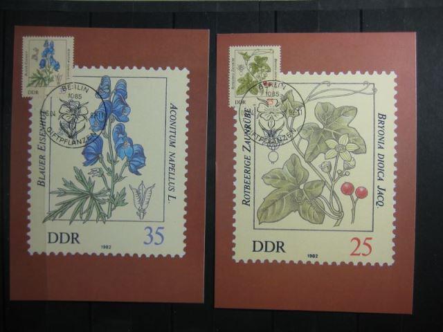 Giftpflanzen, Set von 6 amtl. MK, 1982, mit PF 2