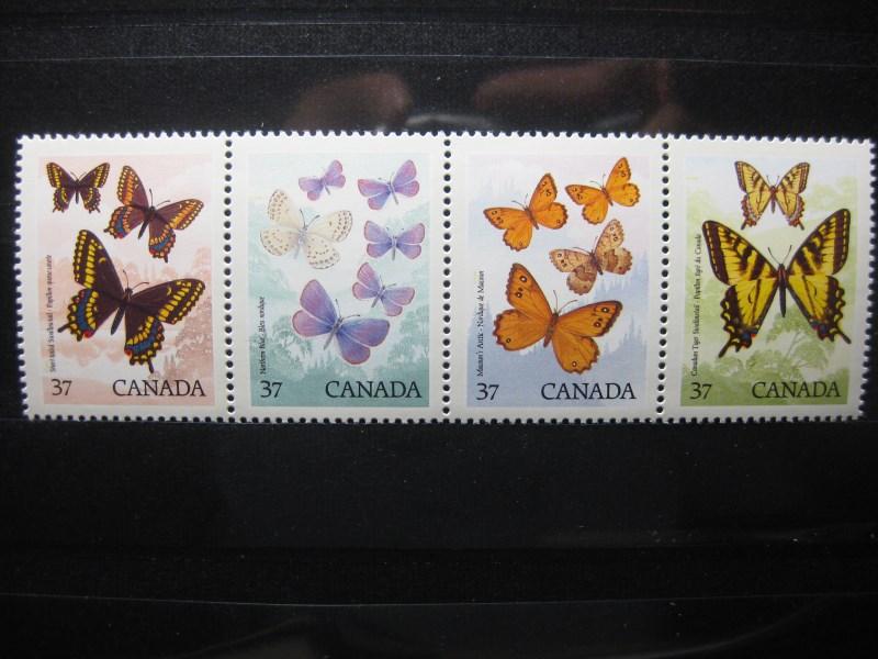 Tiere, Canada, Zusammendruck, 4er-Streifen, Schmetterlinge
