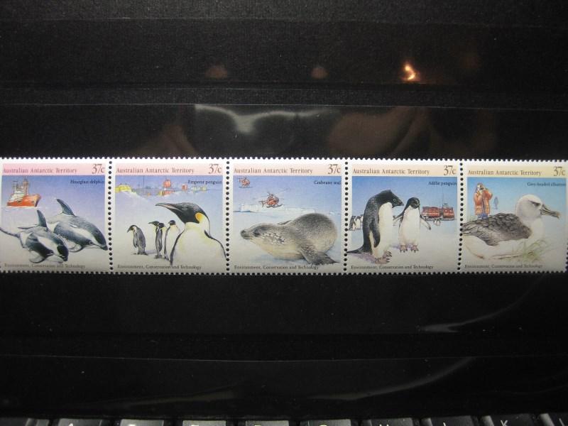 Tiere, Australian Antarctic Territory, Zusammendruck, 5er-Streifen
