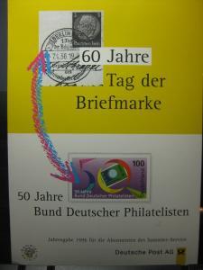 Stempelkarte, Erinnerungskarte , Gedenkblatt, Jahresgabe 60 Jahre Tag der Briefmarke 1996