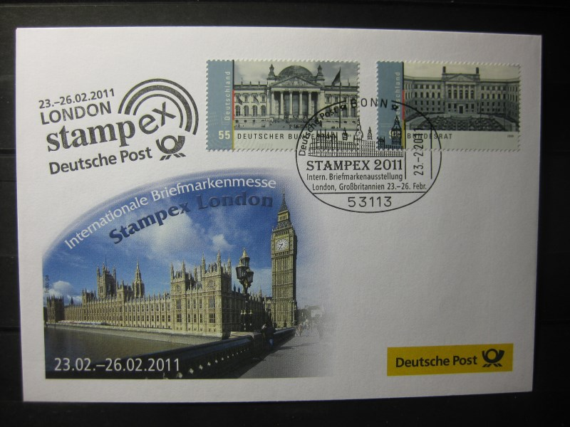 Messebrief, Ausstellungsbrief Deutsche Post: Internationale Briefmarken-Ausstellung  Stampex 2011, London