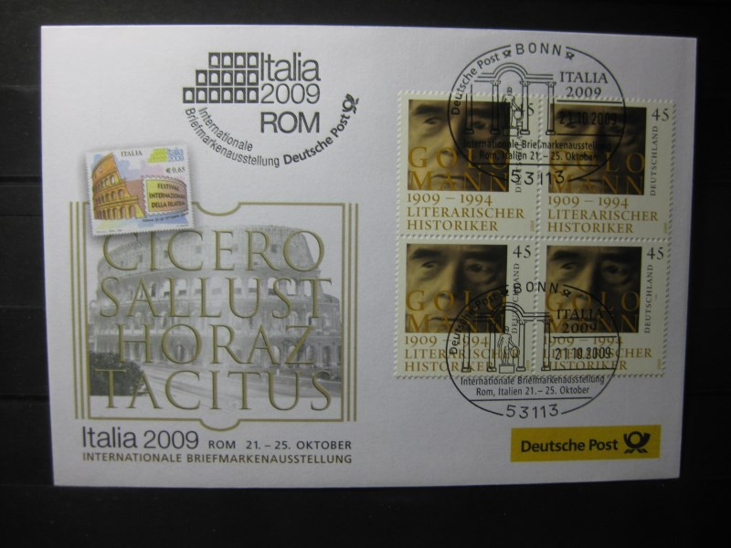 Messebrief, Ausstellungsbrief Deutsche Post: Internationale Briefmarken-Ausstellung  Italia 2009, Rom