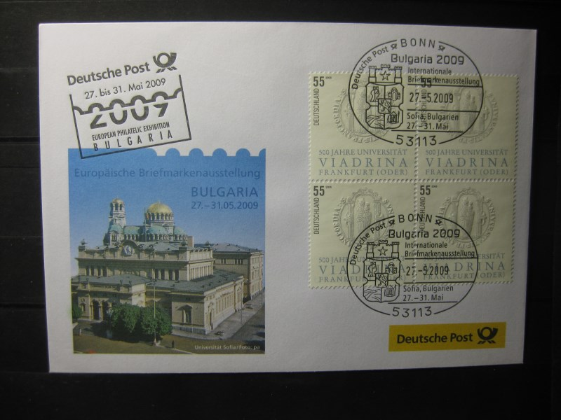 Messebrief, Ausstellungsbrief Deutsche Post: Internationale Briefmarken-Ausstellung  Bulgaria 2009, Sofia
