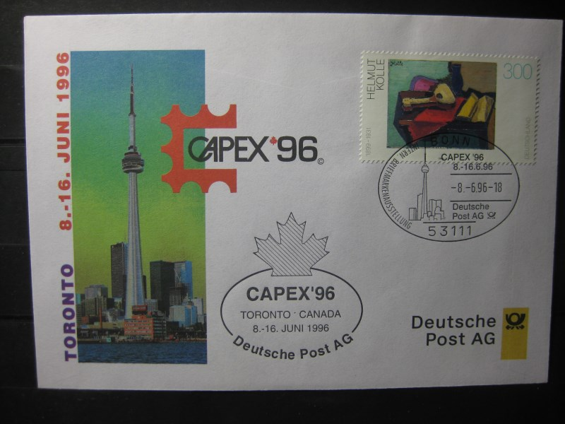 Messebrief, Ausstellungsbrief Deutsche Post: Internationale Briefmarken-Ausstellung  CAPEX96, Toronto 1996
