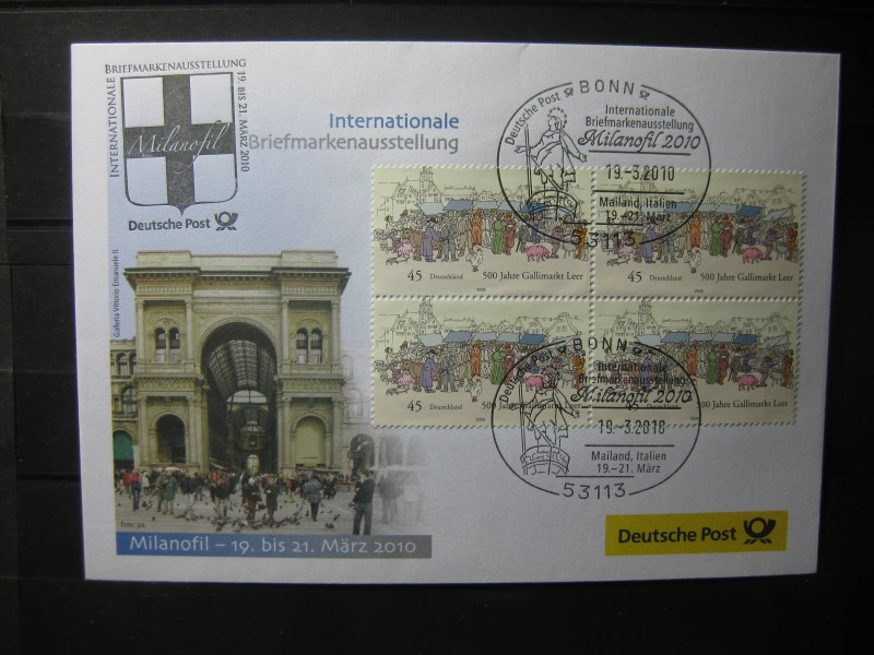 Messebrief, Ausstellungsbrief Deutsche Post: Internationale Briefmarken-Ausstellung  Milanofil 2010, Mailand