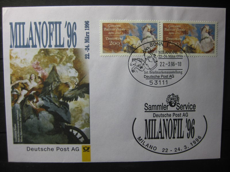 Messebrief, Ausstellungsbrief Deutsche Post: Internationale Briefmarken-Ausstellung  Milanofil 96, Mailand 1996