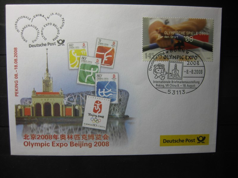 Messebrief, Ausstellungsbrief Deutsche Post: Olympic Expo Beijing 2008, Peking 2008