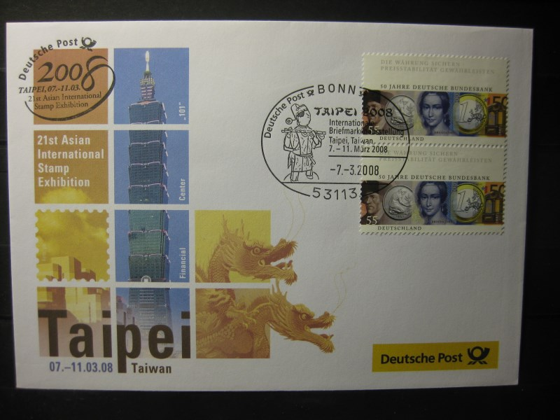 Messebrief, Ausstellungsbrief Deutsche Post: International Stamp Exhibition Taipei 2008, Taiwan