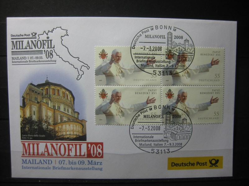 Messebrief, Ausstellungsbrief Deutsche Post: Internationale Briefmarken-Ausstellung  Milanofil 08, Mailand 2008