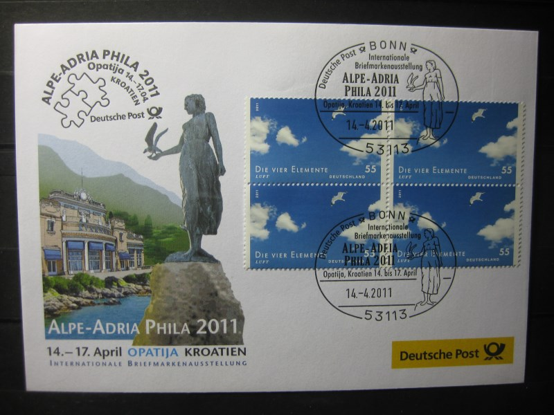 Messebrief, Ausstellungsbrief Deutsche Post: Internationale Briefmarken-Ausstellung  Alpe-Adria Phila 2011, Opatija/Kroatien