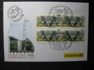 Messebrief, Ausstellungsbrief Deutsche Post: World Stamp Championship Israel 2008, Tel Aviv 2008