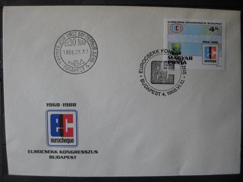 Ungarn, Euroscheck-Konferenz Budapest 1988, FDC, geschnittene Ausgabe