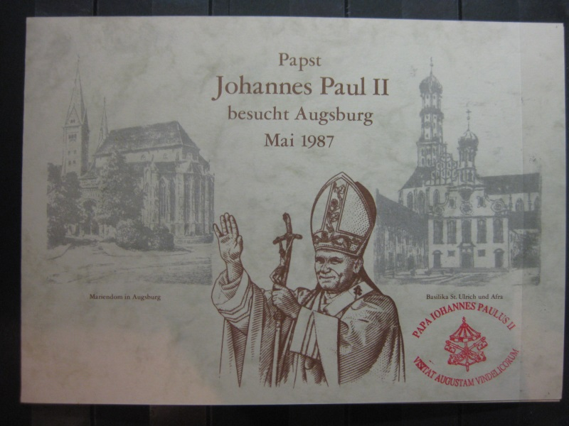 Gedenkblatt  Erinnerungsblatt Papst Johannes Paul II 1987 in Augsburg