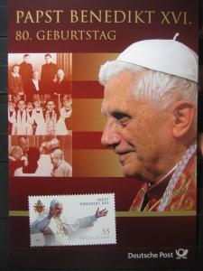 Gedenkblatt  Erinnerungsblatt der Deutsche Post: 80. Geburtstag Papst Benedict XVI.