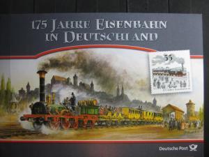 Gedenkblatt  Erinnerungsblatt der Deutsche Post: 175 Jahre Eisenbahn in Deutschland, 2010