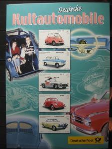 Gedenkblatt  Erinnerungsblatt der Deutsche Post: Deutsche Kultautomobile, 2002