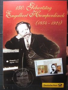 Gedenkblatt  Erinnerungsblatt der Deutsche Post: 150. Geburtstag Engelbert Humperdinck, 2004
