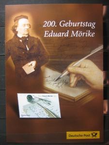 Gedenkblatt  Erinnerungsblatt der Deutsche Post: 200. Geburtstag Eduard Möricke, 2004