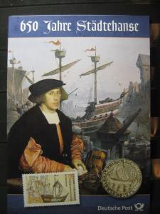Gedenkblatt  Erinnerungsblatt der Deutsche Post: 650 Jahre Städtehanse, 2006