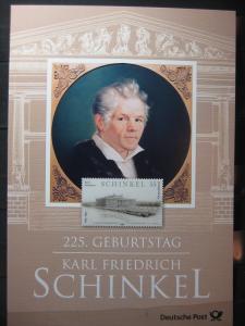 Gedenkblatt  Erinnerungsblatt der Deutsche Post: 225. Geburtstag Karl Fr. Schinkel