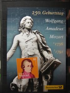Gedenkblatt  Erinnerungsblatt der Deutsche Post: 250. Geburtstag Wolfgang A. Mozart, 2006