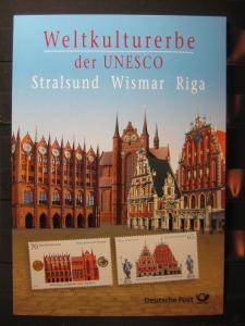 Gedenkblatt  Erinnerungsblatt der Deutsche Post: Weltkulturerbe der UNESCO, Stralsund, Wismar, Riga, 2007