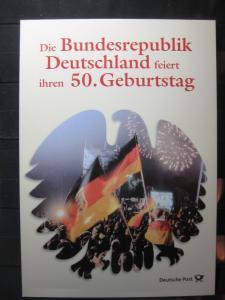 Gedenkblatt  Erinnerungsblatt der Deutsche Post: 50. Geburtstag Bundesrepublik Deutschland, 1999