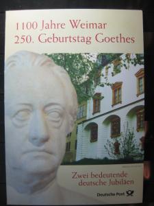 Gedenkblatt  Erinnerungsblatt der Deutsche Post: 1100 Jahre Weimar, 250. Geburtstag Goethes, 1999