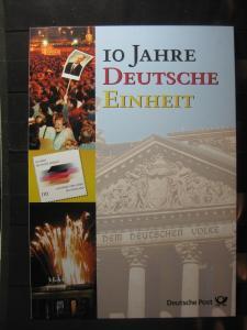 Gedenkblatt  Erinnerungsblatt der Deutsche Post: 10 Jahre Deutsche Einheit, 2000
