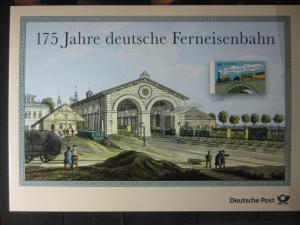 Gedenkblatt  Erinnerungsblatt der Deutsche Post: 175 Jahre deutsche Ferneisenbahn, 2014