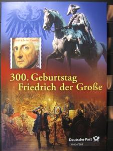 Gedenkblatt  Erinnerungsblatt der Deutsche Post: 300. Geburtstag Friedrich der Große, 2012