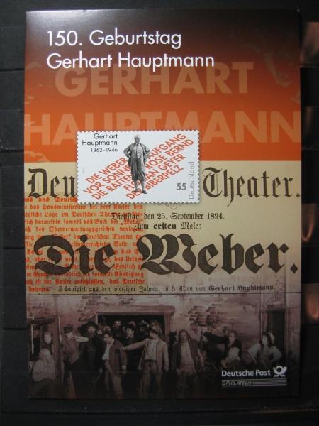 Gedenkblatt  Erinnerungsblatt der Deutsche Post: 150. Geburtstag Gerhart Hauptmann, 2012