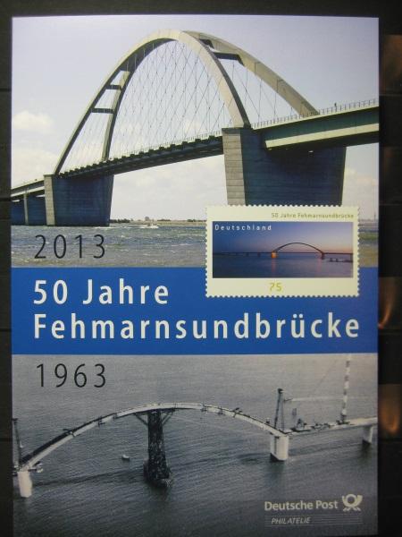 Gedenkblatt  Erinnerungsblatt der Deutsche Post: 50 Jahre Fehmarnsundbrückr