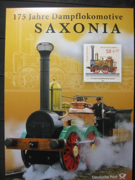 Gedenkblatt  Erinnerungsblatt der Deutsche Post: 175 Jahre Dampflokomotive SAXONIA, 2013