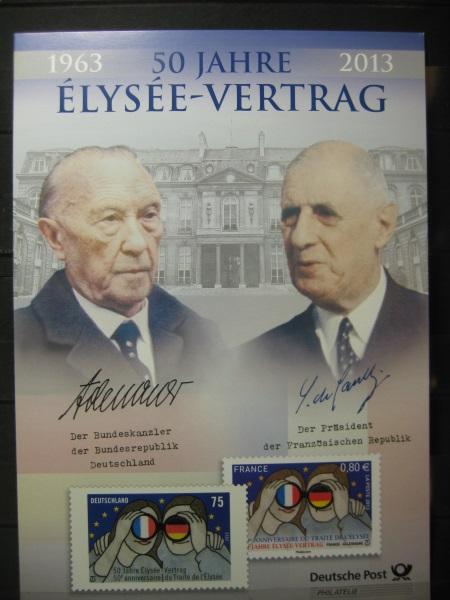 Gedenkblatt  Erinnerungsblatt der Deutsche Post: 50 Jahre Elysee-Vertrag, 2013
