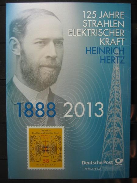 Gedenkblatt  Erinnerungsblatt der Deutsche Post: 125 Jahre Elektrische Kraft, Heinrich Hertz