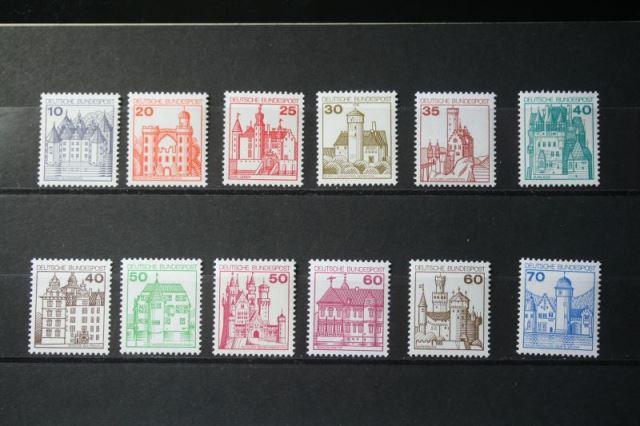 Freimarken, Dauerserie Deutschland: Burgen und Schlösser 1977-1982, 21 Werte, komplette Serie