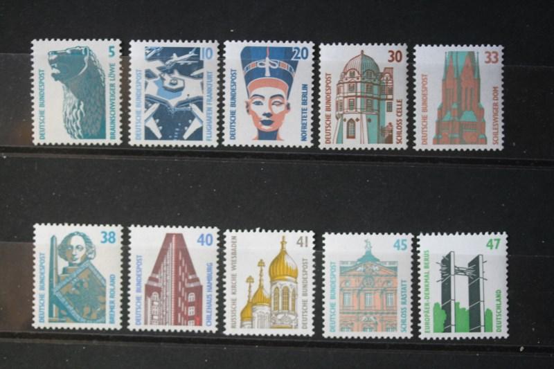 Freimarken, Dauerserie Deutschland: 1987-1997: Sehenswürdigkeiten (Komplette Serie in DM-Währung; 37 Werte
