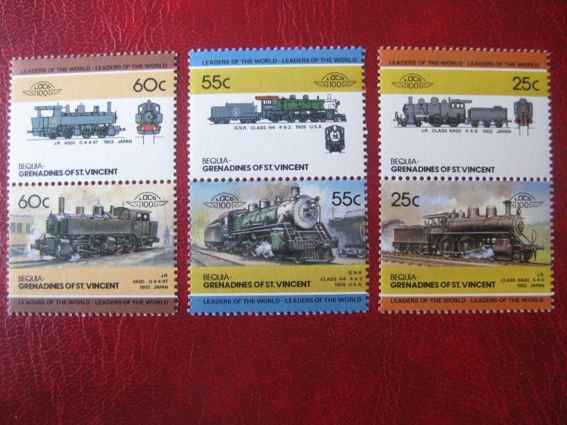 Bequia-Grenadines of St. Vincent; Eisenbahn; 6 Werte = 3 ZD