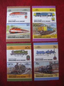 Union Island-Grenadines of St. Vincent; Eisenbahn; 8 Werte = 4 ZD