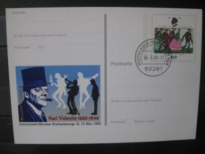 Sonderpostkarte PSo Internationale Münchner Briefmarkentage 2000; Karl Valentin