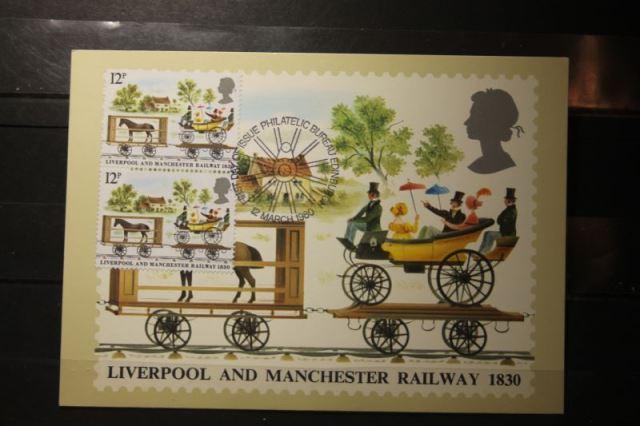 Großbritannien Satz von 4 amtl. MK Liverpool and Manchester Railway 1830