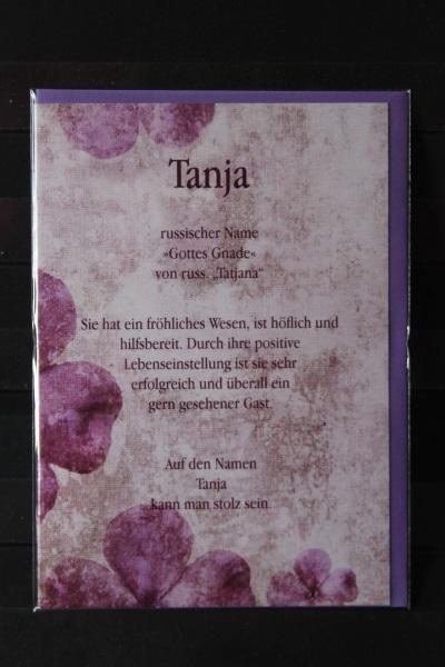 Tanja, Namenskarte, Geburtstagskarte, Glückwunschkarte, Personalisierte Karte