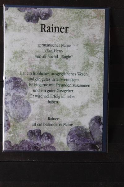 Rainer, Namenskarte, Geburtstagskarte, Glückwunschkarte, Personalisierte Karte