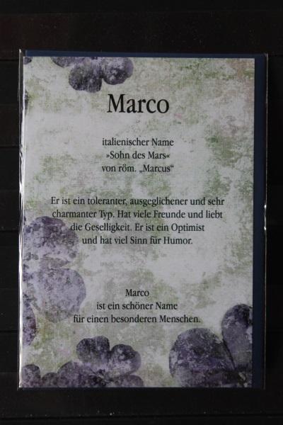 Marco, Namenskarte, Geburtstagskarte, Glückwunschkarte, Personalisierte Karte