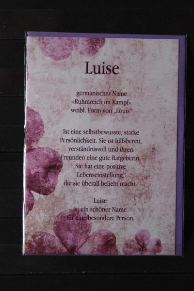 Luise, Namenskarte, Geburtstagskarte, Glückwunschkarte, Personalisierte Karte